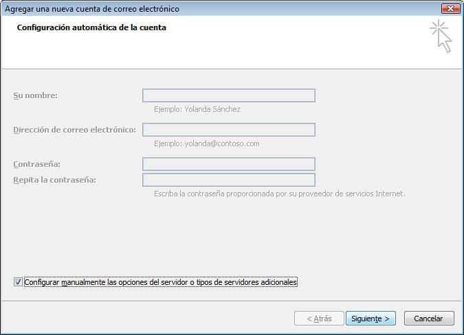 Configuracion manual de la cuenta de correo electrónico