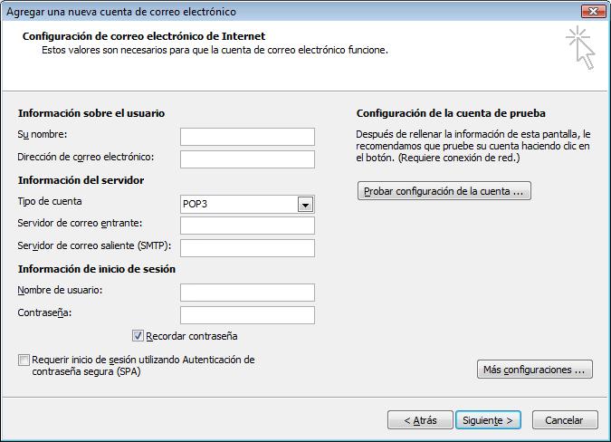 Configuración de correo electrónico