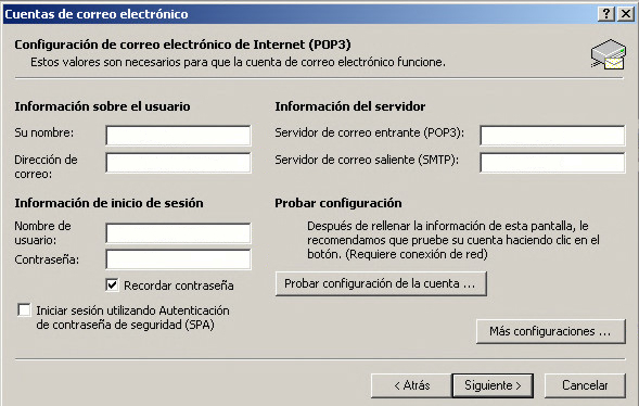 Configuracion de correo electrónico pop